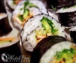 Gluten-free hoisin chicken maki rolls