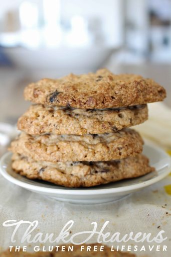 Chunky, chewy Gluten Free Oat Cookies with homemade Carob Buttons