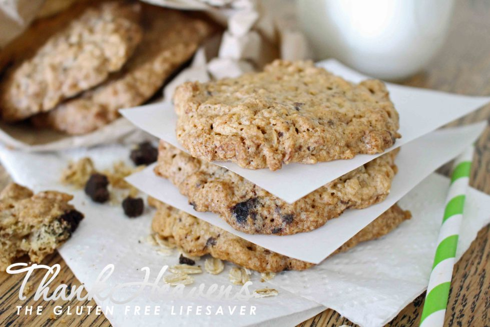 Yummy Chewy Gluten-Free Oat Cookies with Homemade Chocolate or Carob Chips