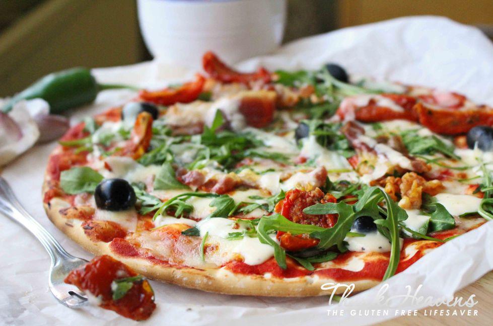 Gluten-free rustic Italian pizza with sundried tomato and panchetta