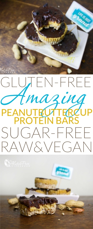 "Crazy Good Raw ""Peanut Butter Cup"" Protein Bars (That taste totally naughty!!) Vegan, gluten-free, raw, refined sugar-free, dairy-free, and 20 grams of protein per 100 gram!! #glutenfree #raw #vegan #vegetarian #paleo #dairyfree #sugarfree #chocolate #protein #fitness"
