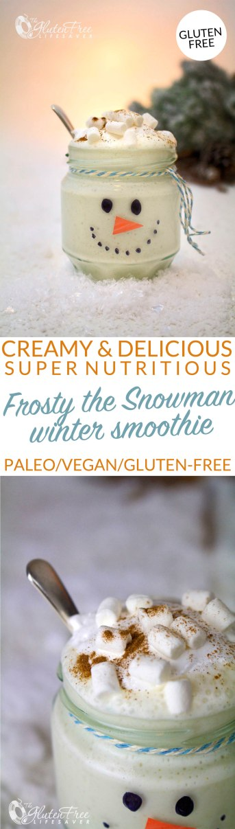Creamy, Cute and Totally Delicious Frosty the Snowman Smoothie! #glutenfree #vegan #paleo #dairyfree #smoothie #christmas #winter #xmas