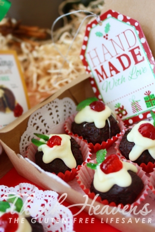 Nigella's Christmas Puddini Bon-Bons made with Decadent and Moist Gluten-Free Chocolate Christmas Cake!   #chocolate #cake #christmas #glutenfree