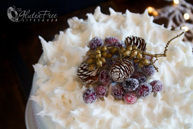 Decadent and Moist Dark Chocolate Christmas Cake with a Scandinavian Twist! Gluten-free and with recipe for homemade Marzipan and Sugared Cranberries!    #glutenfree #cake #cranberries #christmas #holiday