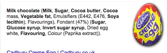 Cadbury Cream Egg Ingredients