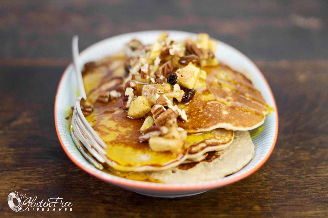 The best pancakes I've ever eaten! Gluten-free Apple and Pecan Breakfast Pancakes! #glutenfree #pancake #breakfast
