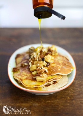 The best pancakes I've ever eaten! Gluten-free Apple and Pecan Breakfast Pancakes! #glutenfree #pancake #breakfast