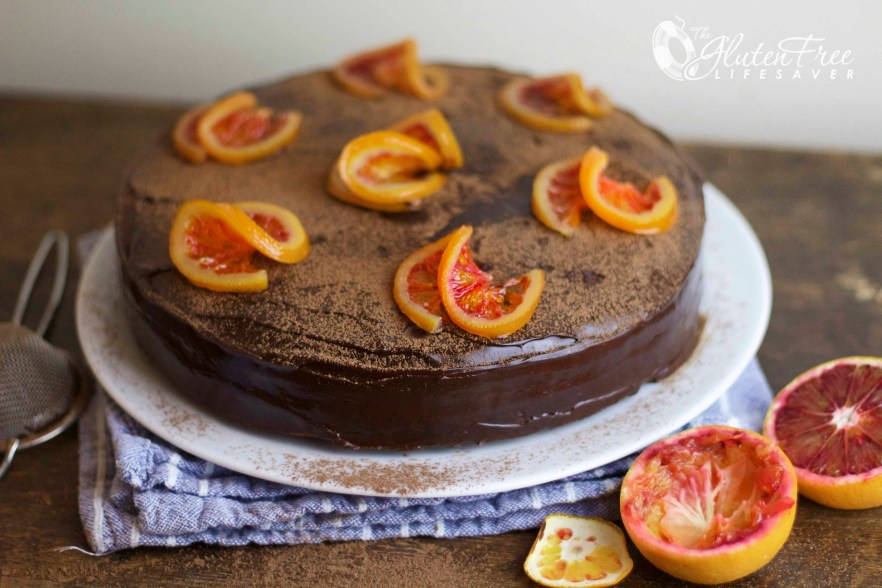 Decadent Gluten-Free Norwegian Dark Chocolate and Blood Orange Torte -Layers and layers of delicious!! #glutenfree #celiac #coeliac #chocolate #cake