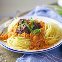 Gluten-free spaghetti meatballs with the best tomato-free pasta sauce ever!