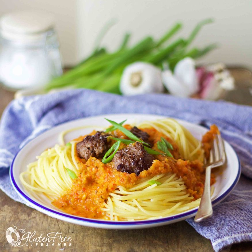 gluten-free spaghetti meatballs with the best ever tomato-free pasta sauce! #gluten-free #dairy-free #sugar-free #tomato-free #notomato #italianfood #meatballs