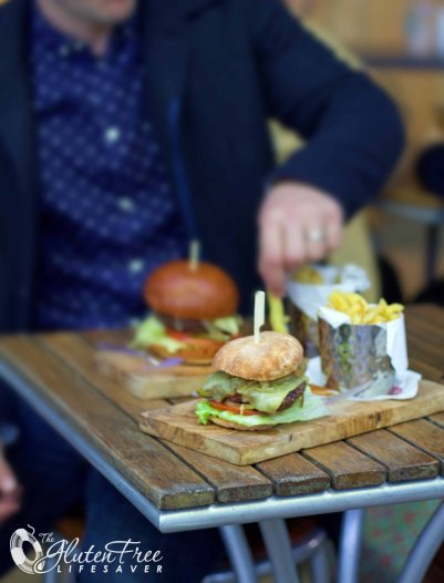 Gluten-free burger at Regents Park open air theatre London
