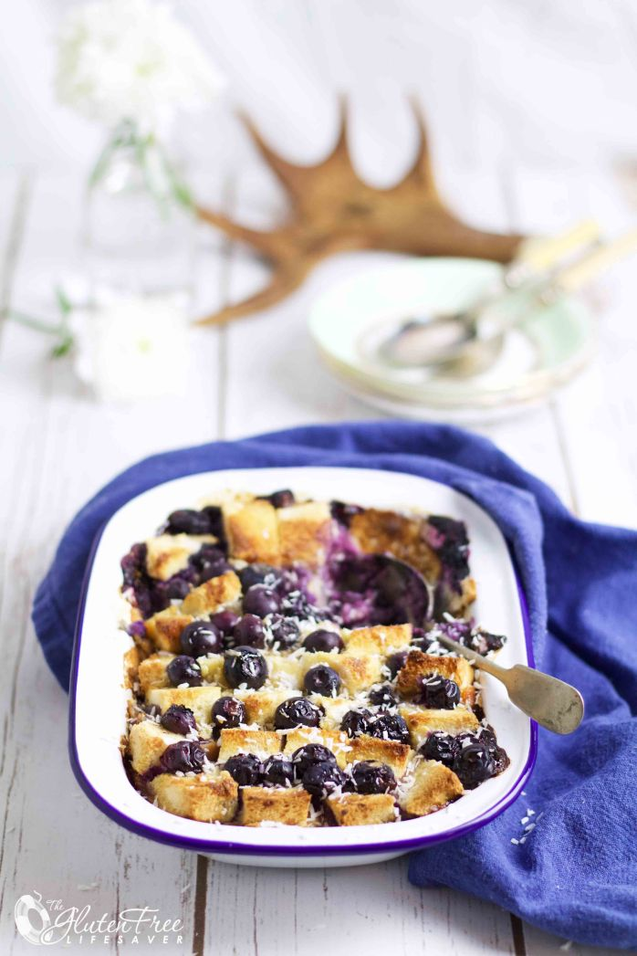 Best ever gluten-free blueberry bread pudding with coconut and vanilla #glutenfree #celiac #coeliac  #dessert