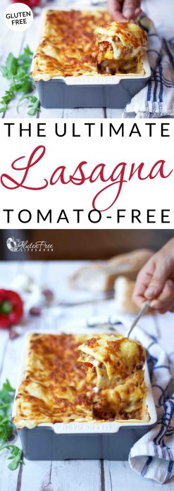 The Ultimate Gluten-Free Tomato-Free Lasagna Recipe! (includes dairy-free option) This lasagna is cheesy, rich and indulgent. Full of flavour from the first bite to next day's leftovers. Yum! #pasta #glutenfree #celiac #coeliac #glutenfree #tomatofree #nomato #recipe #dairyfree