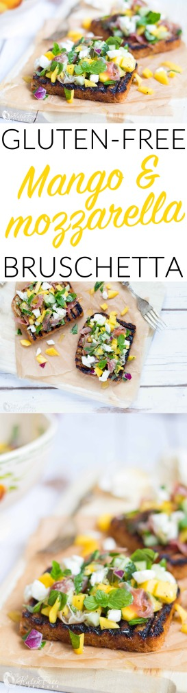 Super Fresh & Quick Mango Mozzarella Bruschetta Recipe #glutenfree #celiac #celiac #lactosefree #healthy #recipe #sugarfree