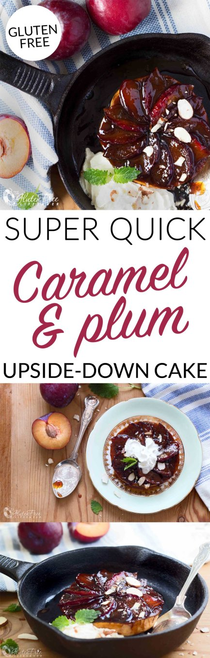World's Easiest Caramel Plum Upside-Down Cake Made From Burger Buns! #glutenfree #cake #caramel #plums #